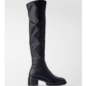 NWOT - Stretch Faux Leather Over-the-knee Boots